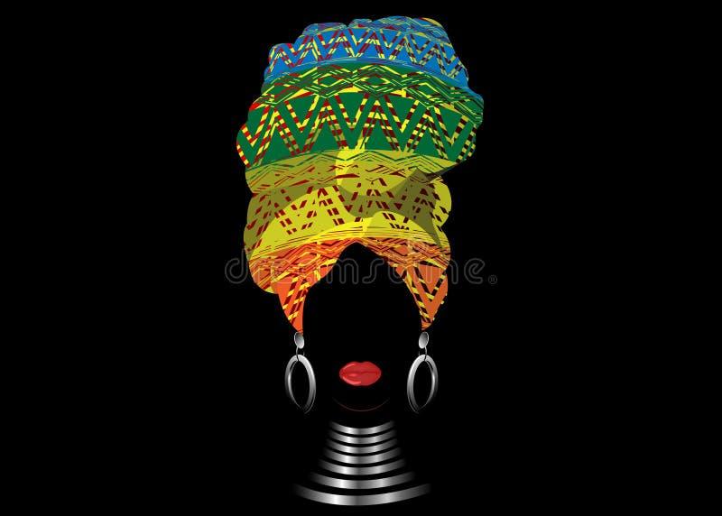 Sciarpa africana, donna di afro del ritratto in un turbante a strisce Modo tribale dell'involucro, Ankara, Kente, kitenge, isolat royalty illustrazione gratis