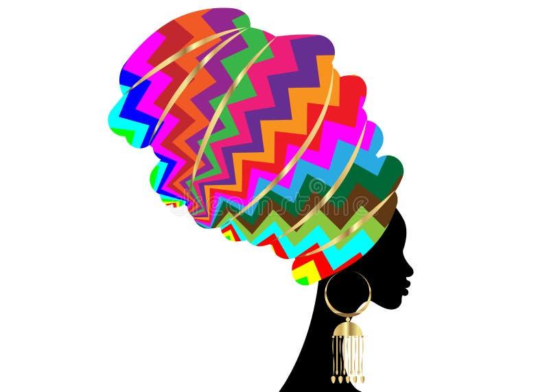Sciarpa africana, donna di afro del ritratto in un turbante a strisce variopinto di zigzag Il modo tribale dell'involucro, Ankara illustrazione vettoriale