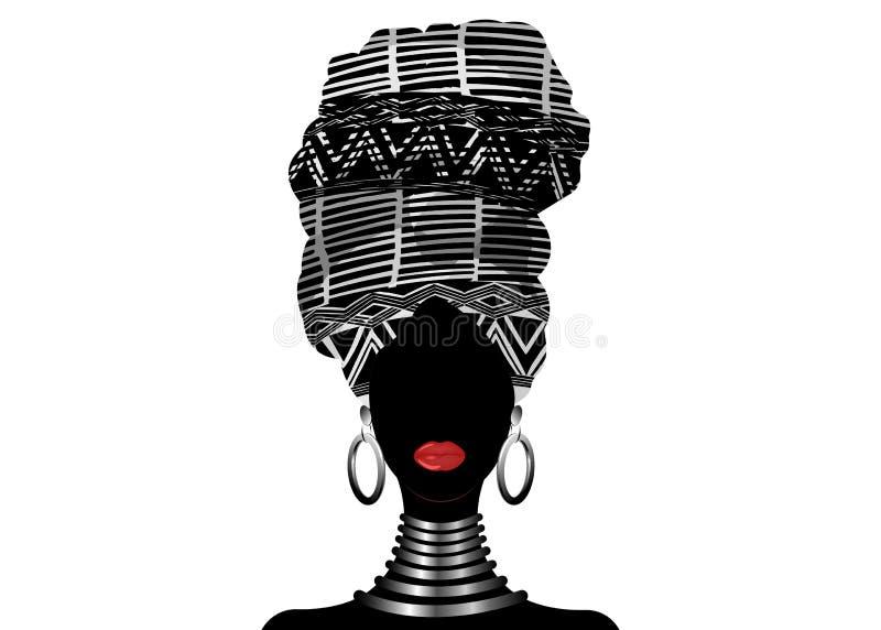 Sciarpa africana, donne di afro del ritratto in un turbante a strisce Modo tribale dell'involucro, Ankara, Kente, kitenge, vestit royalty illustrazione gratis