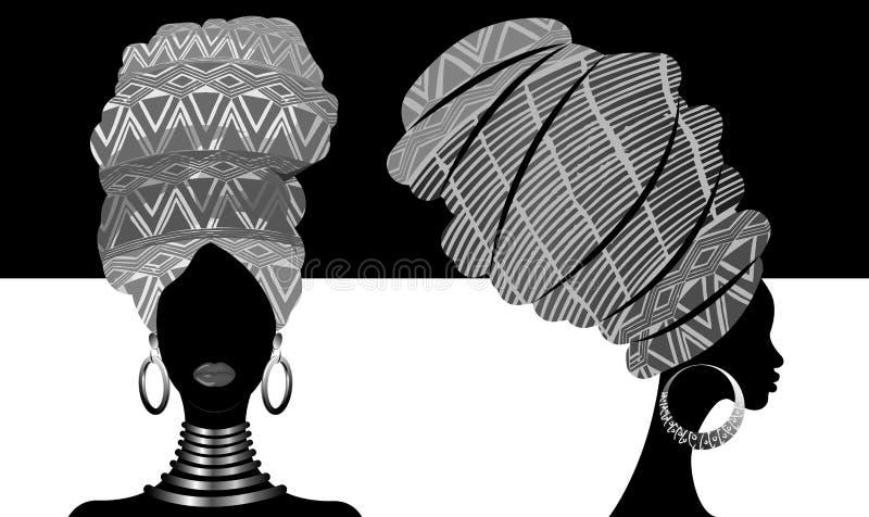 Sciarpa africana messa, donne di afro del ritratto in un turbante a strisce Modo tribale dell'involucro, Ankara, Kente, kitenge,  illustrazione vettoriale