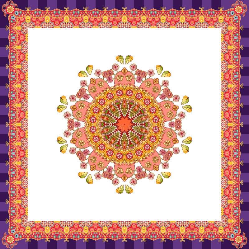 Sciarpa con il fiore - mandala su fondo bianco e sul confine ornamentale luminoso royalty illustrazione gratis