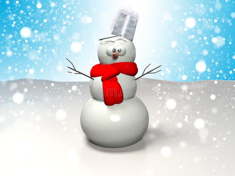 sciarpa da portare del pupazzo di neve 3D sul backgroun dei fiocchi di neve immagini stock
