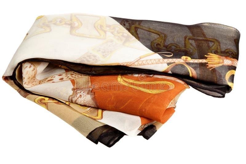 Sciarpa da seta su un fondo bianco fotografie stock libere da diritti