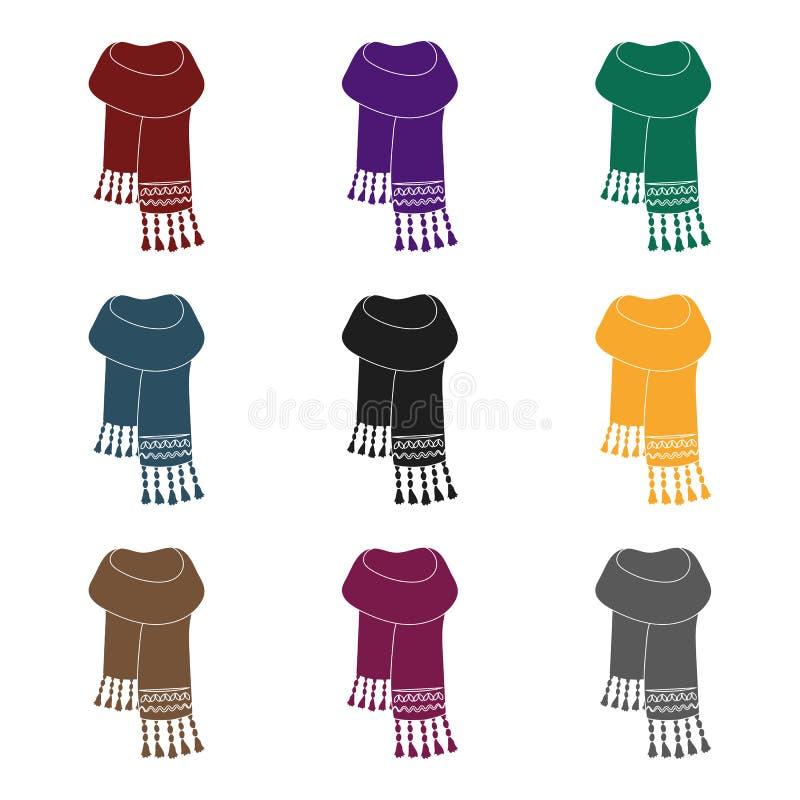 Sciarpa del feltro del blu con i bei modelli Le sciarpe e gli scialli scelgono l'icona nell'illustrazione nera delle azione di si illustrazione di stock