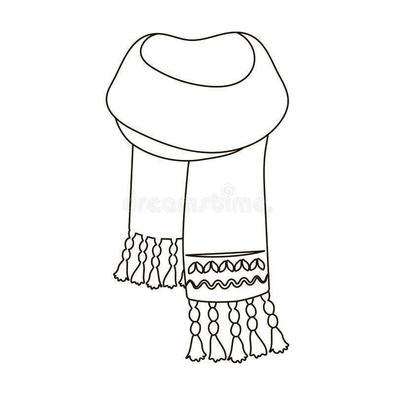 Sciarpa del feltro del blu con i bei modelli Le sciarpe e gli scialli scelgono l'icona nell'illustrazione delle azione di simbolo illustrazione vettoriale