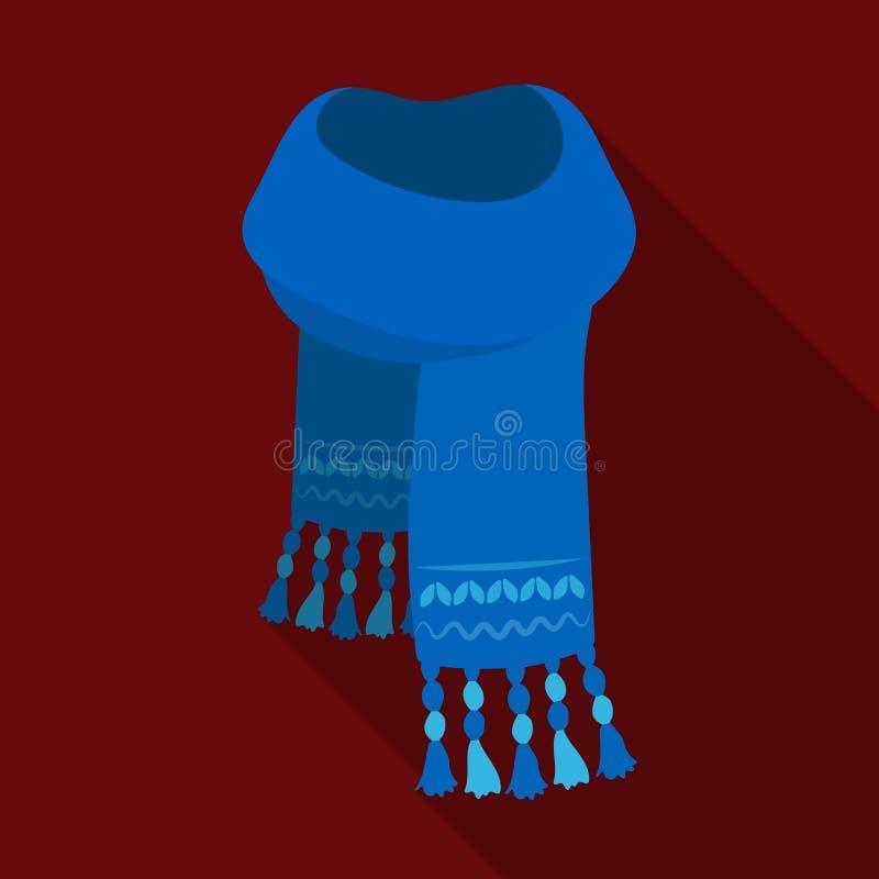 Sciarpa del feltro del blu con i bei modelli Le sciarpe e gli scialli scelgono l'icona nell'illustrazione piana delle azione di s illustrazione di stock