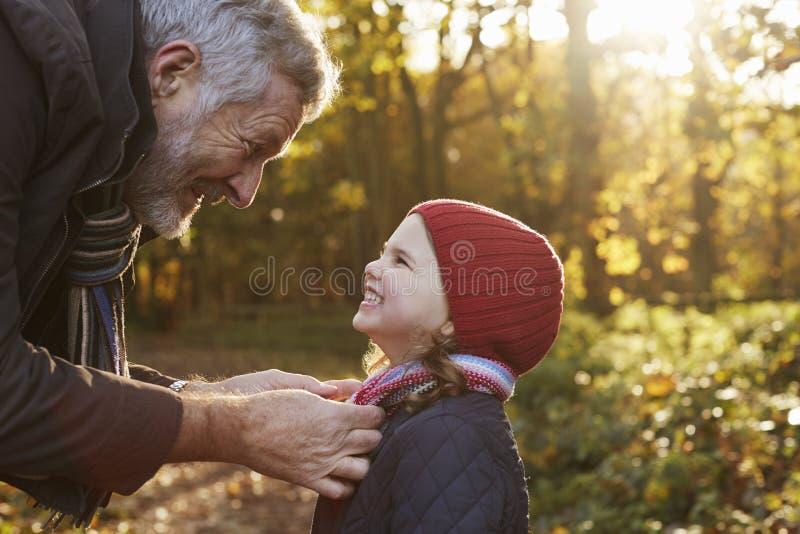 Sciarpa di legatura di prima generazione del ` s della nipote su Autumn Walk fotografie stock