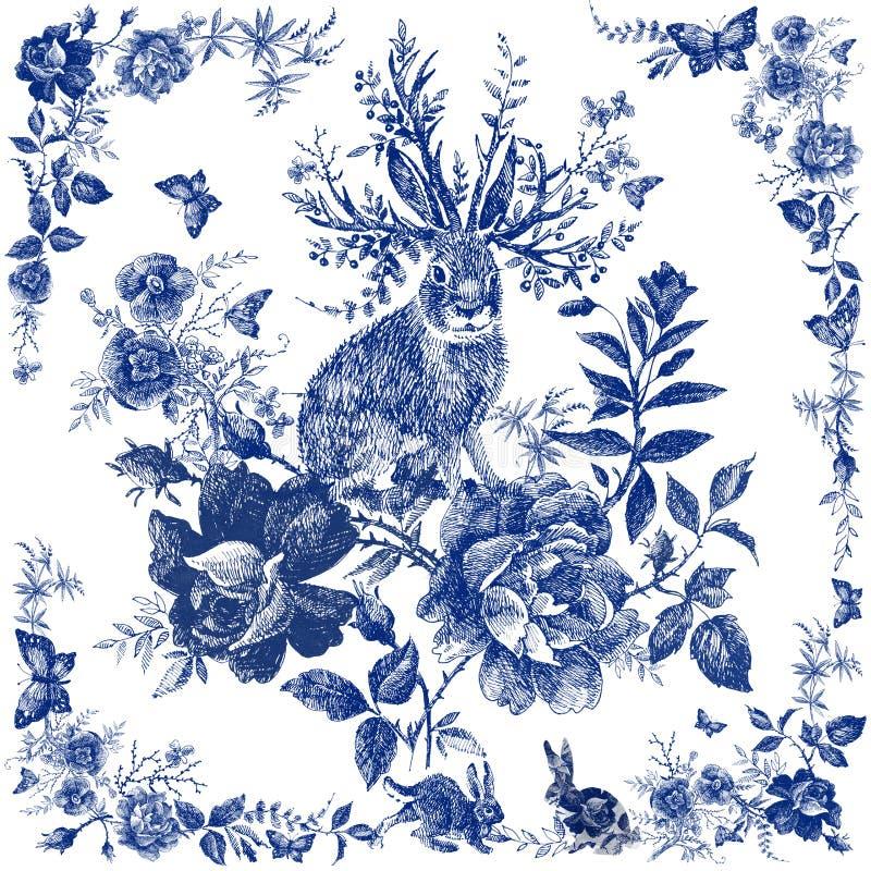 Sciarpa di seta con floreale e l'animale selvatico Illustrazione della lepre Scialle d'annata di progettazione con le rose Fiore  royalty illustrazione gratis