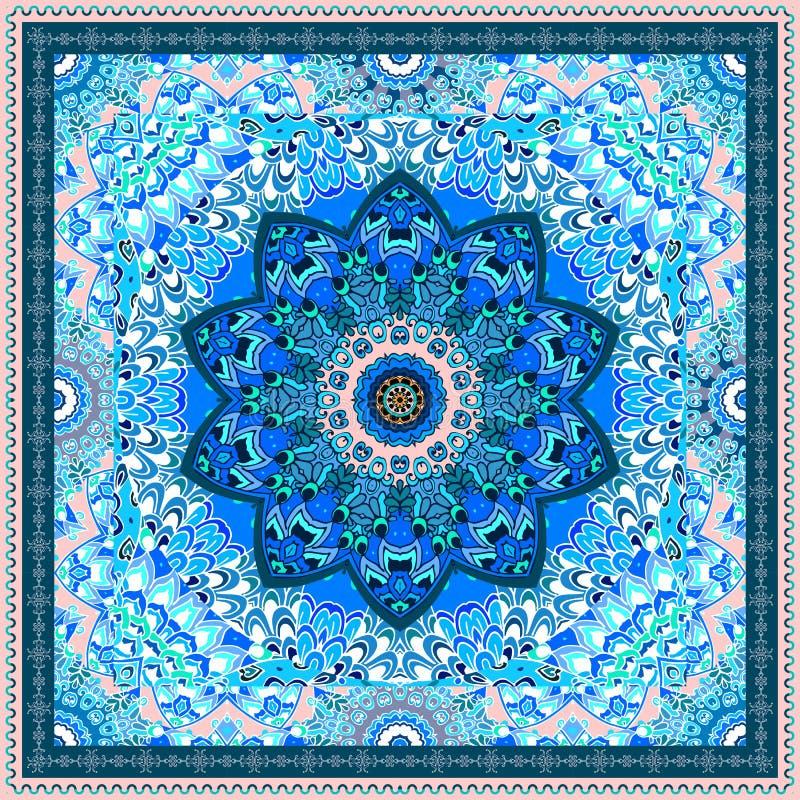 Sciarpa di seta con il fiore blu della mandala su fondo ornamentale e sul confine decorativo Motivi indiani e arabi Bello inverno illustrazione vettoriale