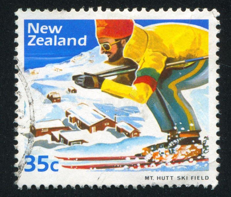Sciatore al supporto Hutt Ski Field immagine stock