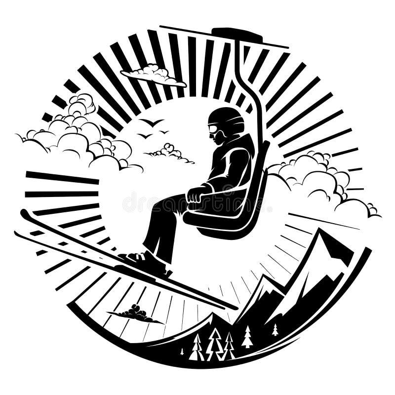 Sciatore che si siede all'ascensore di sci in alte montagne illustrazione vettoriale