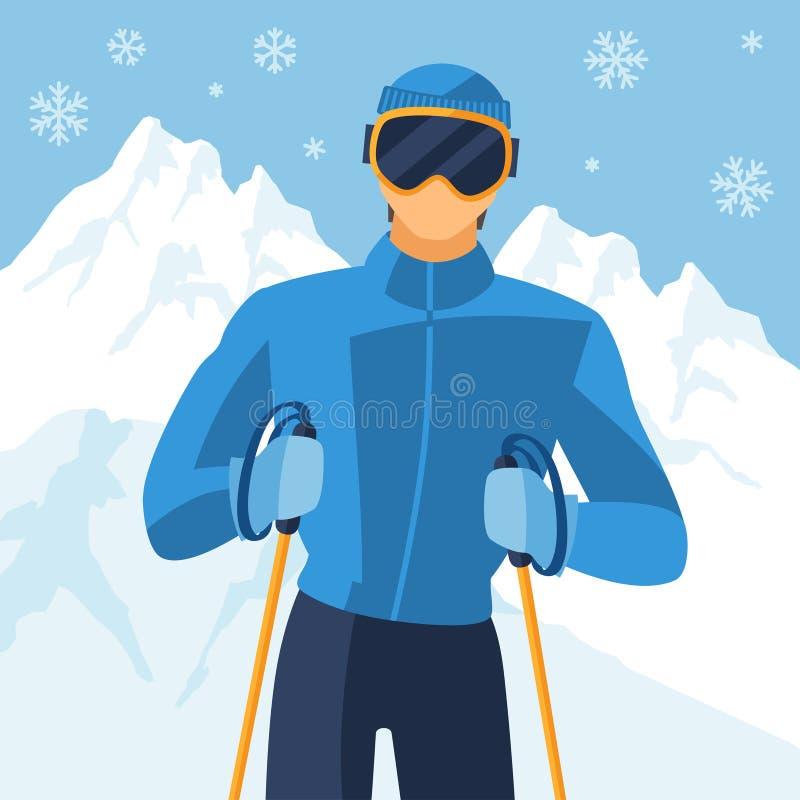 Sciatore dell'uomo sul fondo del paesaggio di inverno della montagna royalty illustrazione gratis