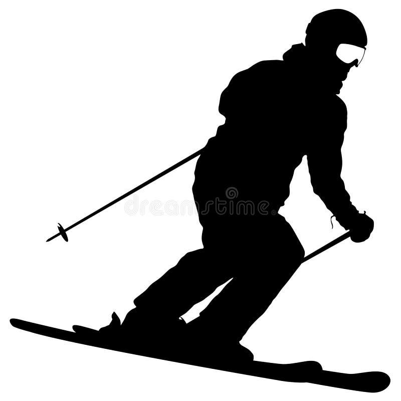 Sciatore della montagna che accelera giù il pendio Siluetta di sport di vettore illustrazione vettoriale