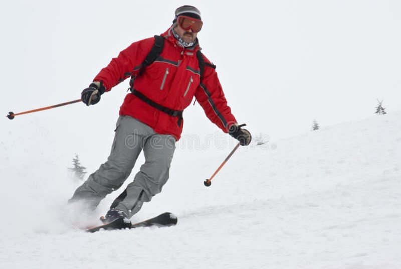 Sciatore Della Montagna Del Primo Piano Che Si Muove Velocemente Immagine Stock Libera da Diritti