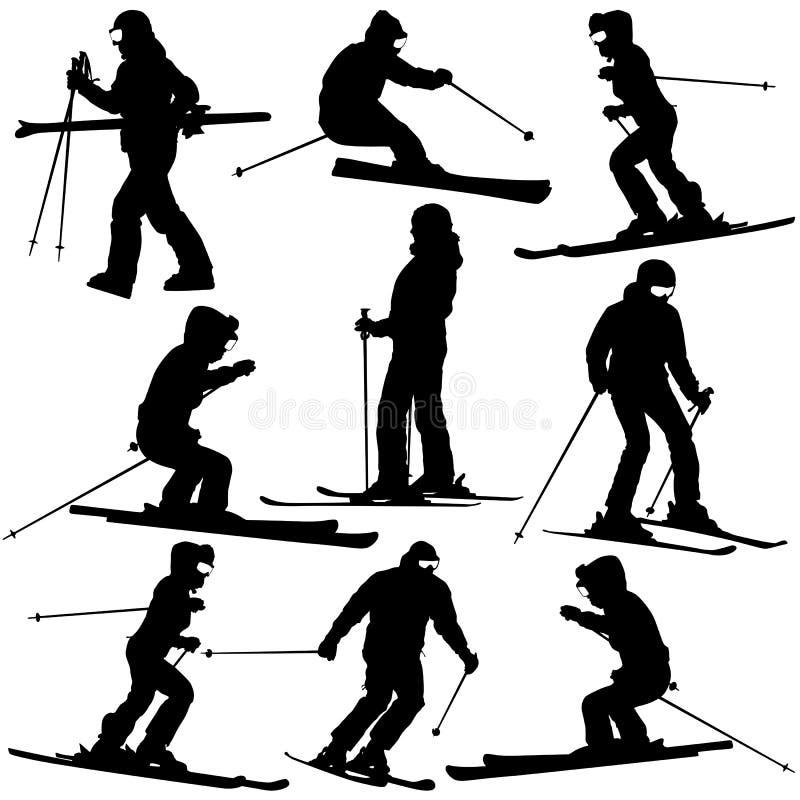 Sciatore della montagna   donna illustrazione di stock