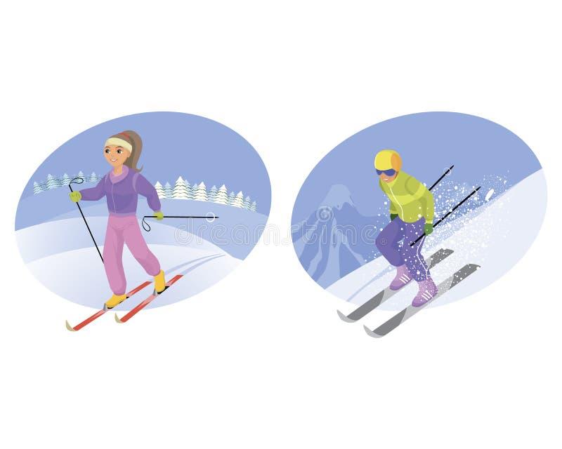 Sciatore e montagna-sciatore royalty illustrazione gratis