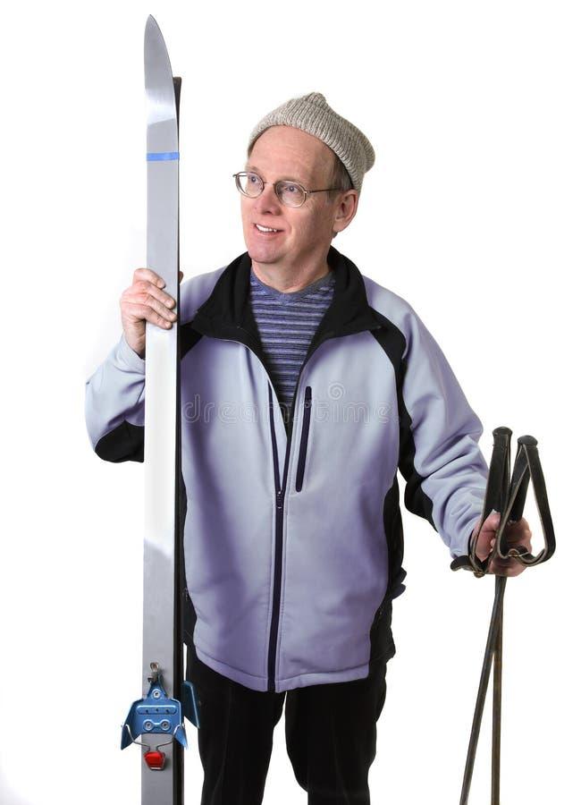 Sciatore senior in studio fotografia stock