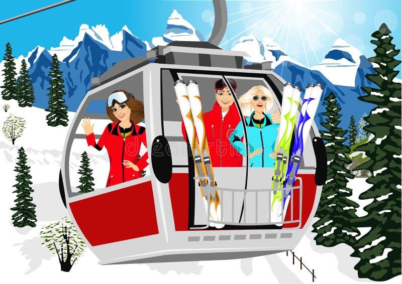 Sciatori di trasporto della cabina o della cabina di funivia in montagne illustrazione vettoriale