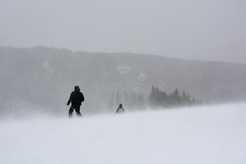 Sciatori nella bufera di neve di inverno fotografia stock