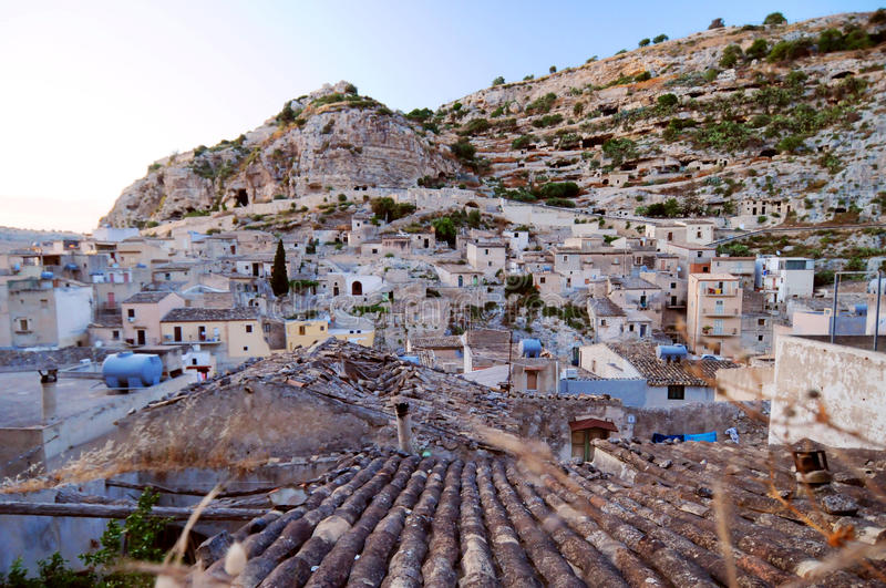 Scicli town. Scenic view of Scicli town on mountainside, Ragusa province, Sicily, Italy royalty free stock images