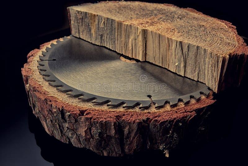 Scie circulaire mécanique, le meilleur assistant en sciant le bois en petite et grande quantité photographie stock libre de droits