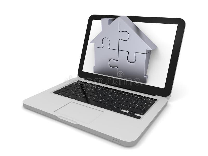 Scie sauteuse à la maison sur l'écran d'ordinateur portatif illustration libre de droits