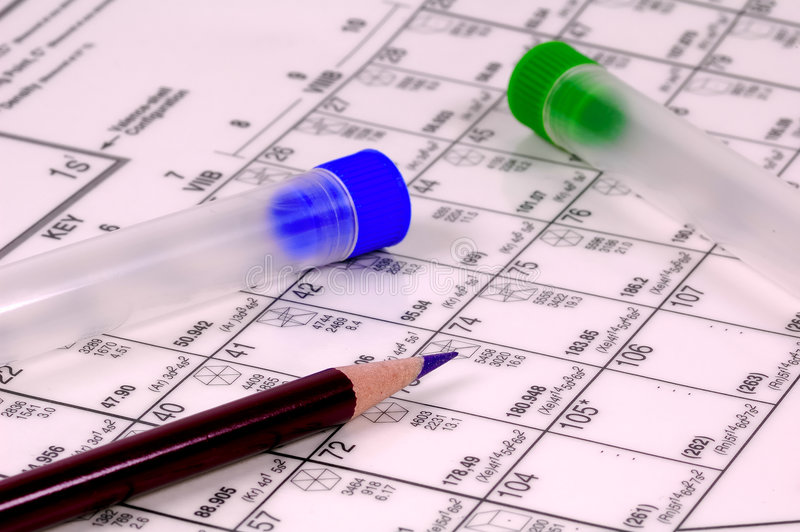 Science. Periodic Table and Test Tubes royalty free stock photos