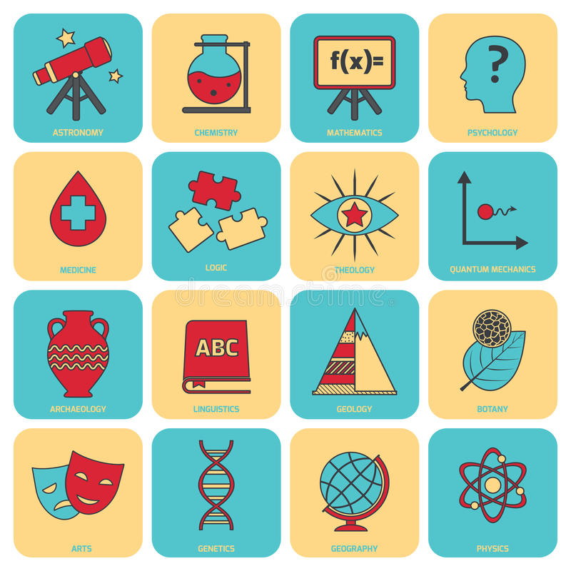 Science areas icons flat line royalty free illustration