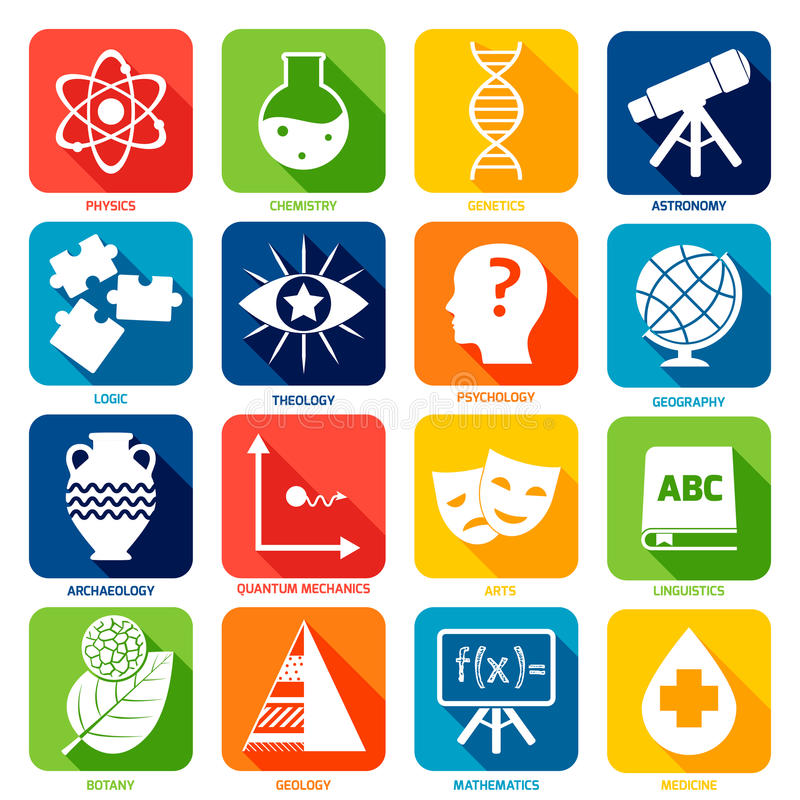 Science Areas Icons vector illustration
