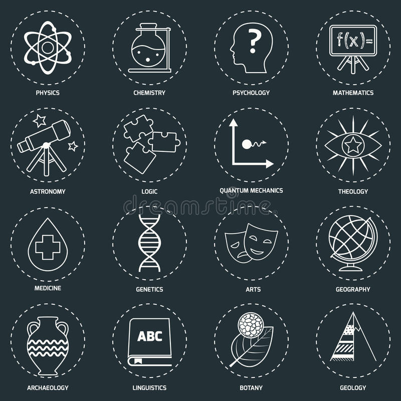 Science areas icons outline vector illustration
