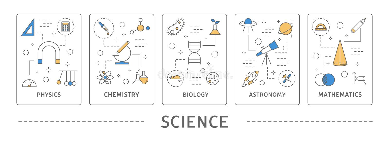 Science areas set. Biology and chemistry, maths and astronomy stock illustration