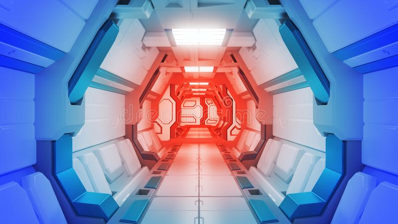 Science background fiction interior rendering sci-fi spaceship corridors,3D rendering. Science background fiction interior rendering sci-fi spaceship corridors vector illustration