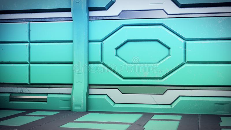 Science background fiction interior room sci-fi spaceship corridors orange, 3D illustration royalty free illustration