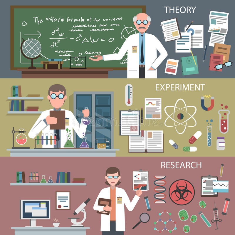 Science Banner Set vector illustration