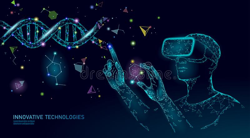 Science biology gene modifying concept. VR headset holographic projection virtual reality glasses. Futuristic medicine. Science biology gene modifying concept vector illustration