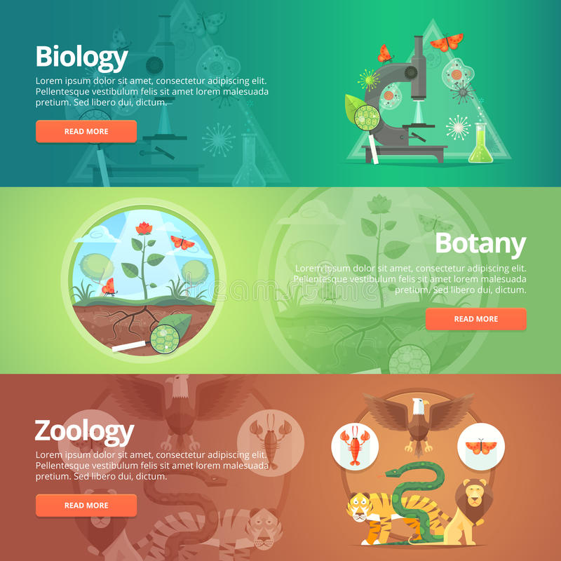 Science of biology. Natural science. Vegetable life. Botany knowledge. Animal planet. Zoology. Zoo. World of wildlife. Education and science banners set vector illustration