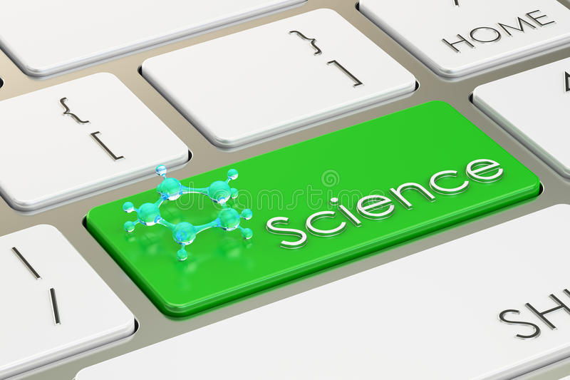 Science button, on the computer keyboard. 3D rendering. Science button, on the computer keyboard stock illustration