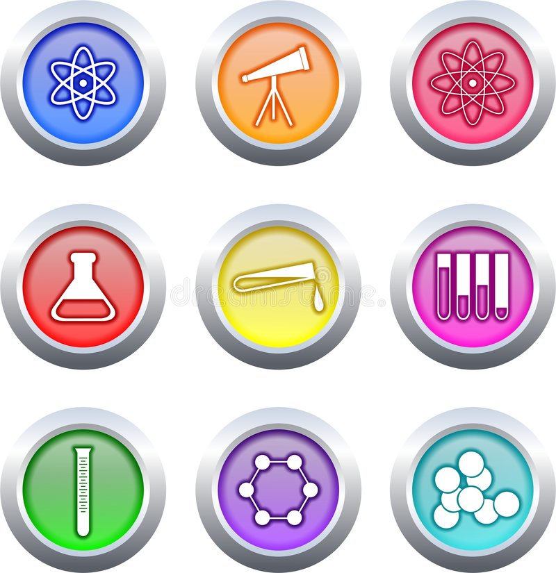 Science buttons stock illustration