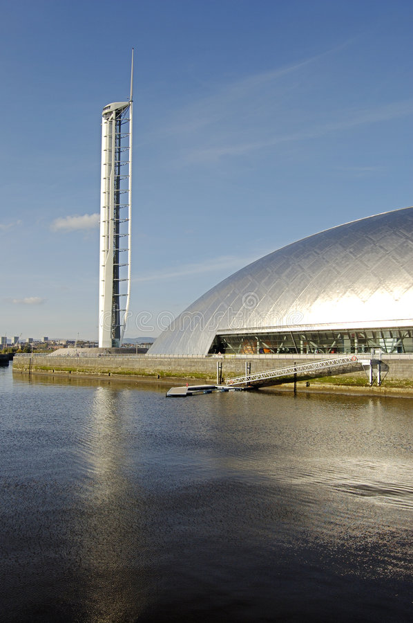 Science Centre and wharf. The space age Science Centre, Tower and wharf at Pacific Quay, Glasgow royalty free stock photography