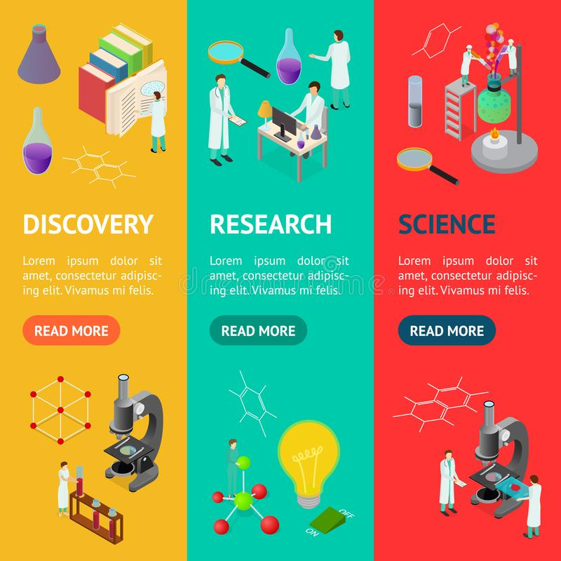Science Chemical Pharmaceutical Concept Banner Vecrtical Set 3d Isometric View. Vector. Science Chemical Pharmaceutical Concept Banner Vecrtical Set 3d Isometric royalty free illustration