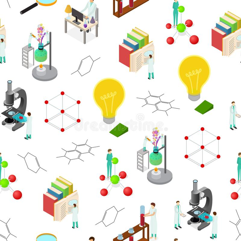 Science Chemical Pharmaceutical Concept Seamless Pattern Background 3d Isometric View. Vector. Science Chemical Pharmaceutical Concept 3d Isometric View Seamless royalty free illustration