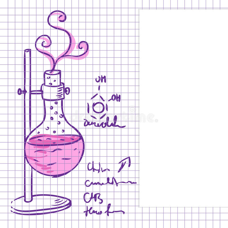 Science chemistry lab background (sketchy style) stock illustration