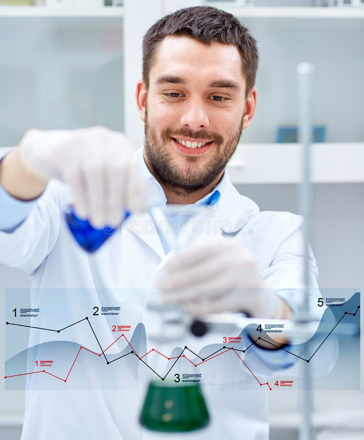 Young scientist making test or research in lab stock photo