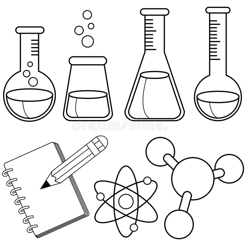 Science and chemistry set. Black and white coloring book page royalty free illustration
