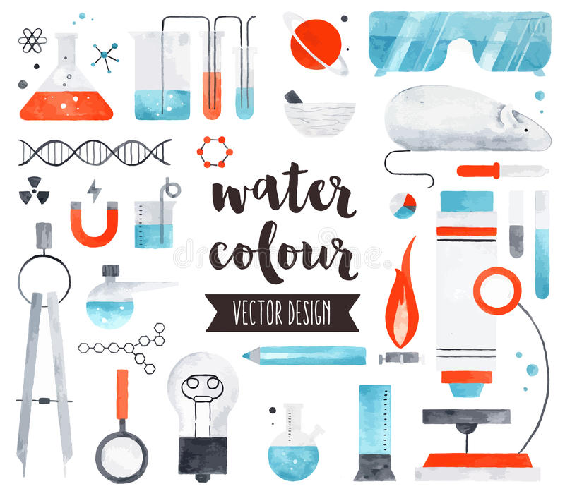Science and Chemistry Watercolor Vector Objects vector illustration