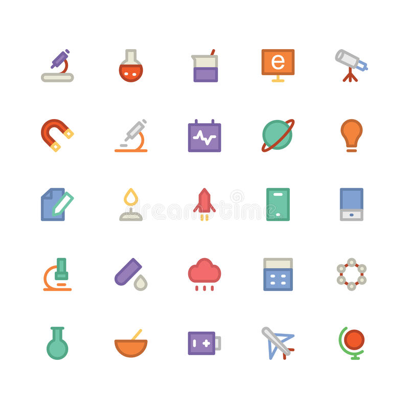 Science Colored Vector Icons 1. We are honored to present to you a set of Science Vector icons pack. It is composed to everything related Science, Bio, Chemistry royalty free illustration