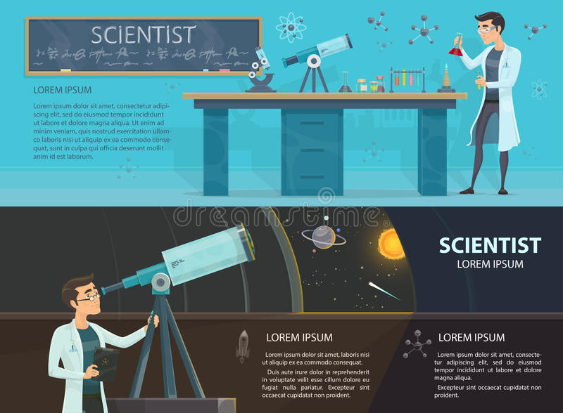Science Colorful Horizontal Banners stock illustration