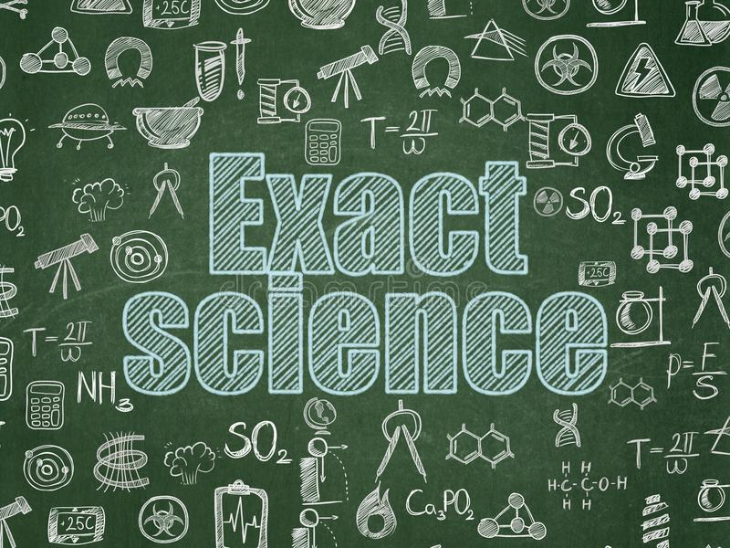 Science concept: Exact Science on School board background. Science concept: Chalk Blue text Exact Science on School board background with Hand Drawn Science vector illustration