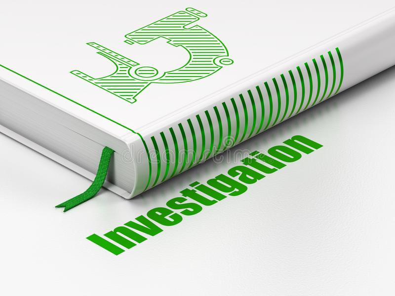 Science concept: book Microscope, Investigation on white background stock illustration