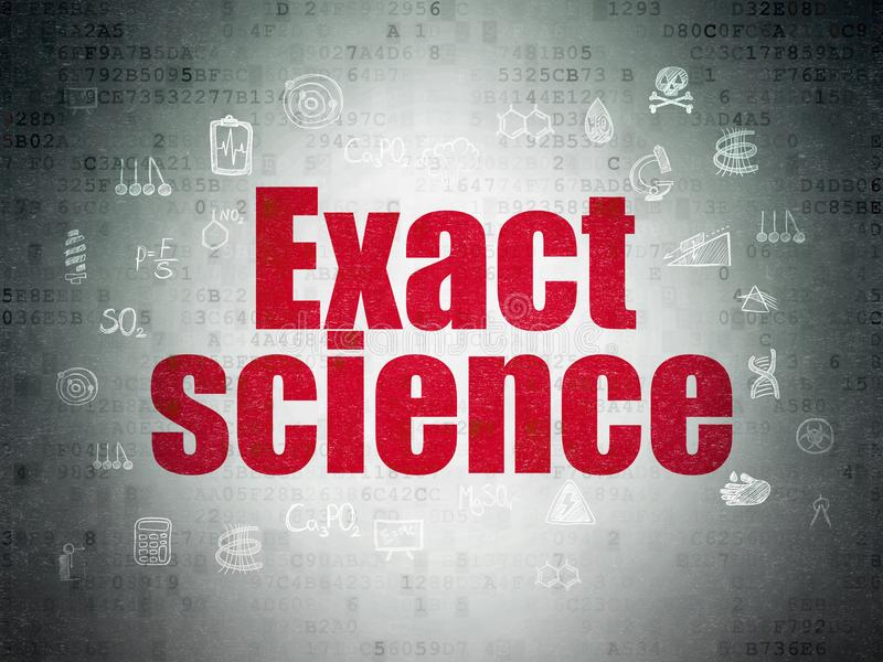 Science concept: Exact Science on Digital Data Paper background. Science concept: Painted red text Exact Science on Digital Data Paper background with Hand Drawn stock illustration